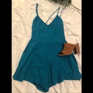 EXPRESS teal sleeveless romper